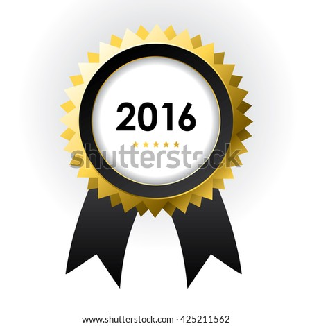 special label with ribbons - best of 2016 sign - stock photo