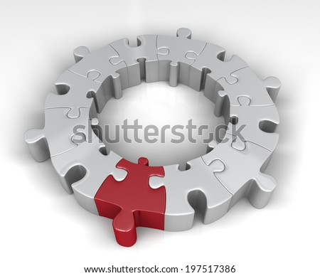 Special link in the jigsaw ring - stock photo