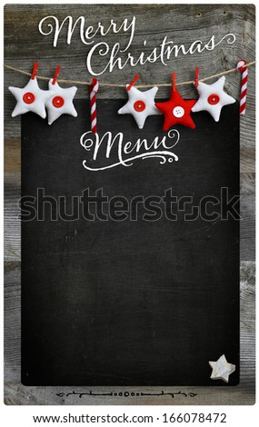 Special Merry Christmas and New Year`s holiday restaurant bistro menu design on vintage wooden blackboard with copy space
