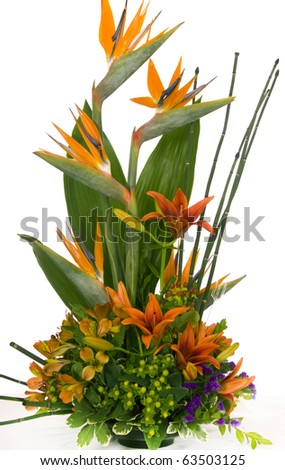 Special occasion bouquet with bird of paradise. - stock photo