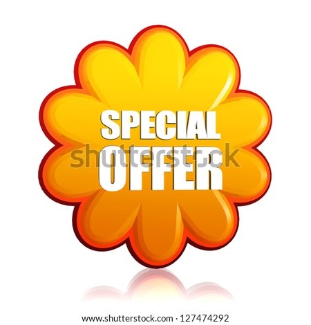 special offer banner - 3d orange flower label with white text, business concept
