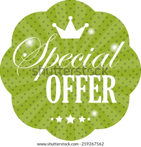 Special Offer Green Sticker, Label and Tag Vintage Style  - stock photo