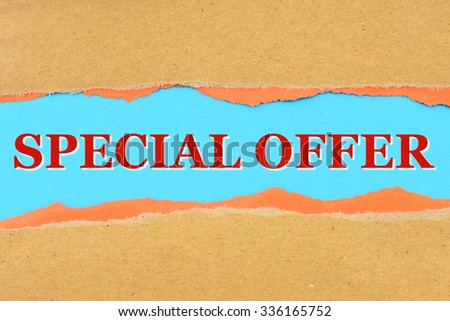 SPECIAL OFFER on a torn paper - stock photo