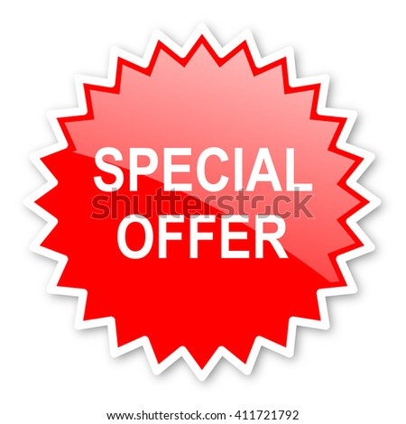 special offer red tag, sticker, label, star, stamp, banner, advertising, badge, emblem, web icon - stock photo