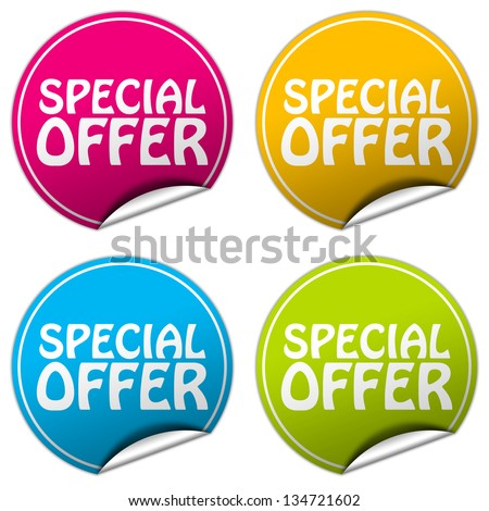 special offer sticker set - stock photo