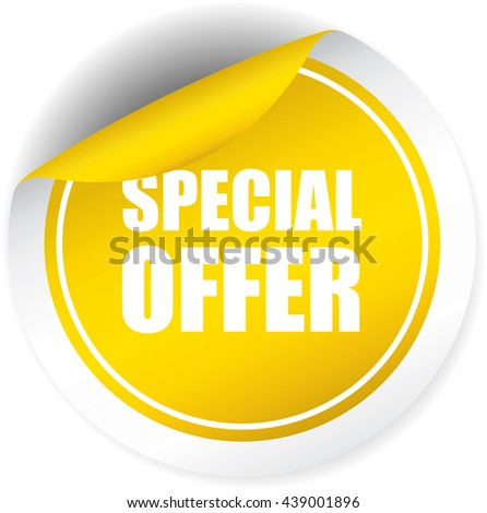 Special offer yellow sticker, button, label and sign. - stock photo