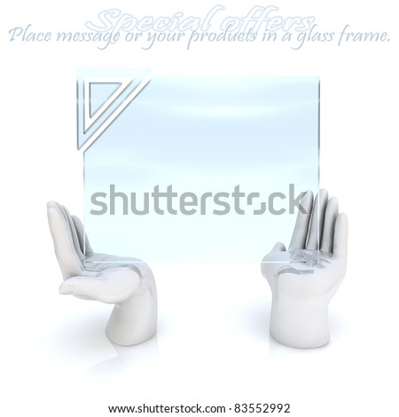 Special offers frame. Empty glass frame for message, High-resolution 3d rendering - stock photo