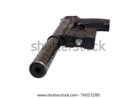 special operation handgun with silencer on white background - stock photo