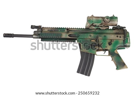 Special Operations Assault Rifle isolated on white - stock photo