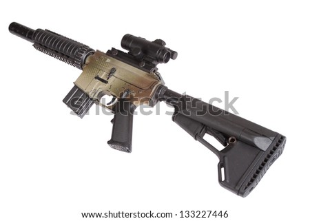 Special Operations rifle with gunsight isolated on a white background - stock photo