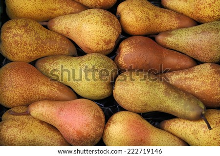 Special pears at a typical french farmers market - stock photo