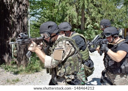 special police unit in training, school - stock photo