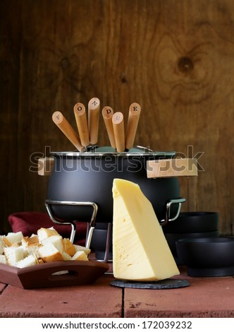 special set of utensils for cooking fondue  - stock photo