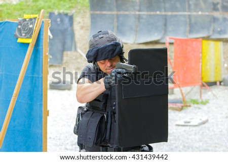 Special training for police shooting - stock photo