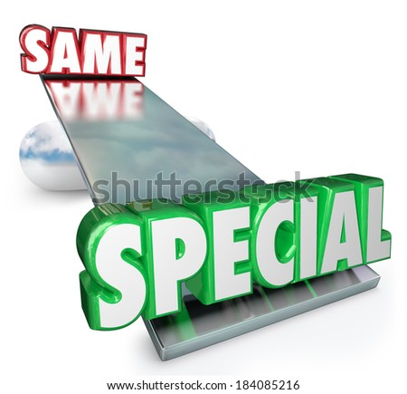 Special vs Same Words See Saw Balance Different - stock photo