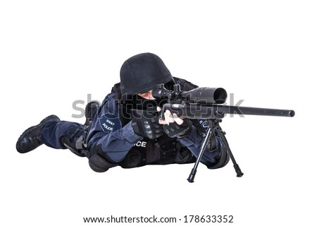 Special weapons and tactics (SWAT) team officer with sniper rifle - stock photo