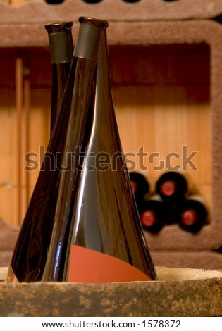 special wine bottles in a wine cellar - stock photo