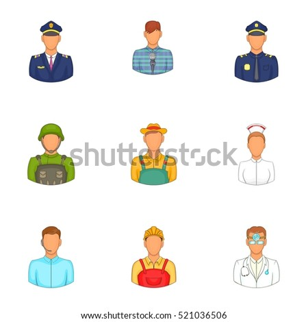 Specialty icons set. Cartoon illustration of 9 specialty  icons for web