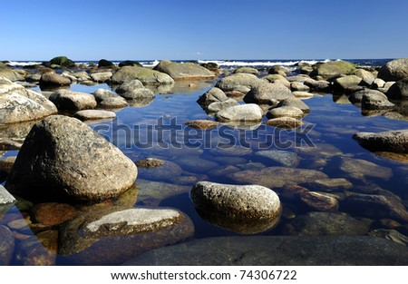 Specific Swedish coast - stock photo