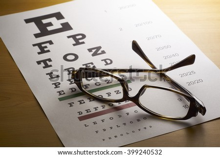 Spectacles with eye chart - stock photo