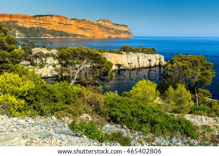 Spectacular Calanques National park with Calanques of Port Pin bay near Marseille,Cassis,Provence,France,Europe