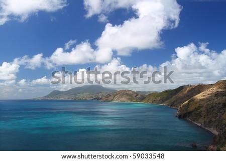 Spectacular coastline on the Caribbean island of Saint Kitts - stock photo