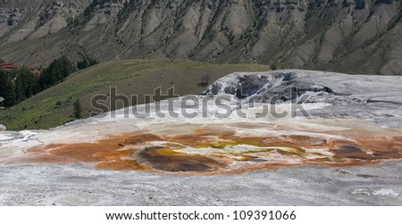 Spectacular colorful landscape in Mammoth Hot Springs, Yellowstone National Park, Montana, USA - stock photo