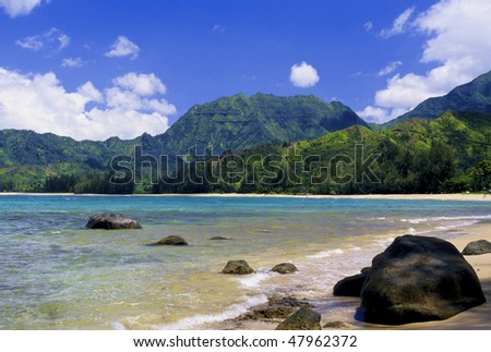 Spectacular Hanalei Bay is located on the north shore of Kauai, Hawaii. - stock photo