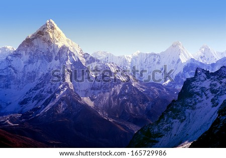 Spectacular mountain scenery on the Mount Everest Base Camp trek through the Himalaya, Nepal - stock photo