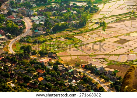spectacular natural scenery with terraced fields in northern Vietnam in sun set  - stock photo