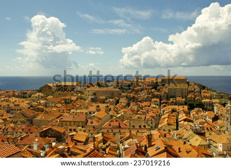 Spectacular picturesque gorgeous view on the old town of Dubrovnik, Croatia