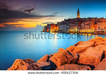 Spectacular romantic old town of Rovinj with magical sunset,Istrian Peninsula,Croatia,Europe - stock photo