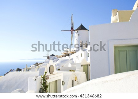 Spectacular Santorini landscape with windmill