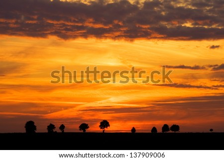 spectacular sky after sunset.landscape - stock photo