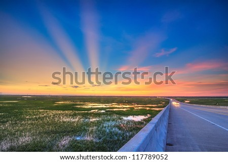 Spectacular Sunset from a Bridge in Charleston, SC - stock photo