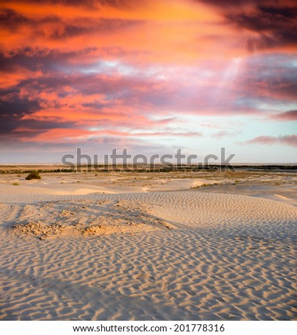 Spectacular sunset over the desert. Vertical composition - stock photo