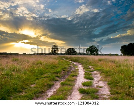Spectacular Sunset over Trail in Natural Heathland in The Netherlands