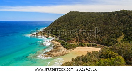Spectacular view from Teddy's Lookout over the Great Ocean Road, Victoria, Australia. - stock photo