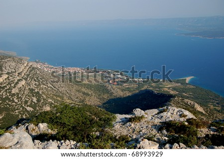 Spectacular view from Vidova Gora on Golden Cape on Brac island, Croatia - stock photo