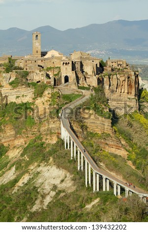 spectacular view of Civita di Bagnoregio , called the dying town, in province of Viterbo, Lazio, Italy, Europe - stock photo