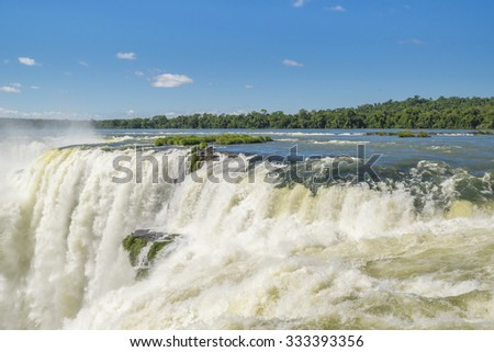 Spectacular view of devil throat falls at Iguazu park in argentinian border.
