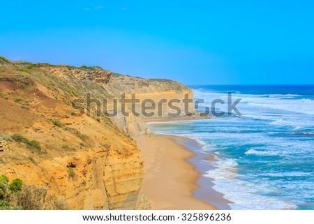 spectacular view of great ocean road, victoria, australia - stock photo