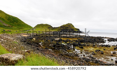 Spectacular view of the Giant's Causeway and Causeway Coast, the result of an ancient volcanic eruption UNESCO World Heritage Site - stock photo