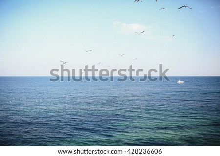 Spectacular view on the sea in the sunny day