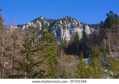 spectacular winter mountain rocks - stock photo