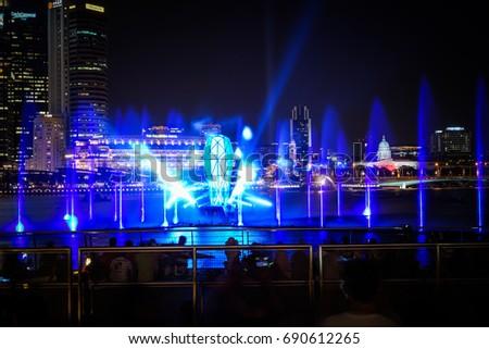 spectra light water show marina bay stock photo royalty free