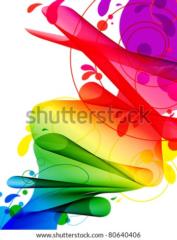 Spectrum Ribbon River-Abstract flowing ribbon in spectrum gradient with circles and swirls isolated on white – flows like a river - stock photo