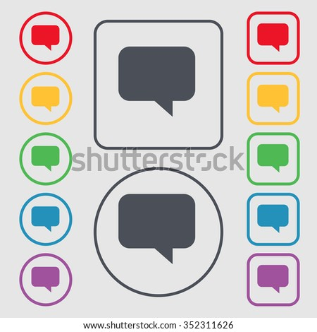 speech bubble, Chat think icon sign. symbol on the Round and square buttons with frame. illustration