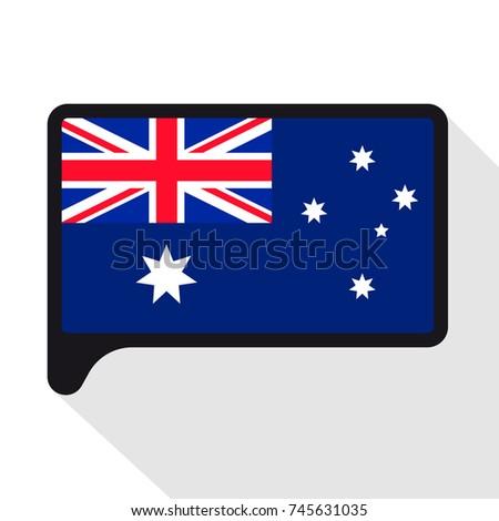 Speech Bubble Flag Australia Symbol Independence Stock Illustration