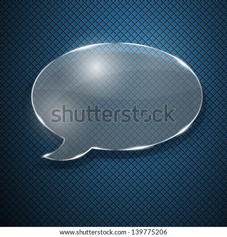 Speech bubble from glass on fluted background. Raster version. - stock photo